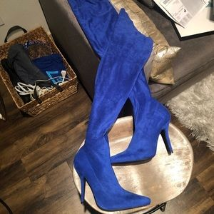 Blue suede thigh high boots